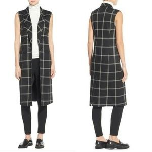 Halogen- black white windowpane midi vest small